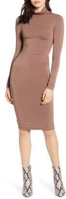 Good American Body-Con Turtleneck Long Sleeve Dress