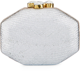 Rafe Sofia Straw Clutch Polygon Bag, Silver