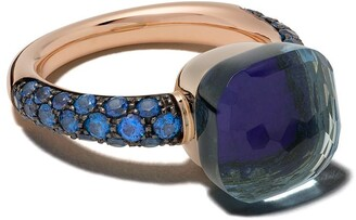 Pomellato 18kt rose and white gold Nudo lapis lazuli and topaz ring