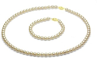 DaVonna 14k Gold Children's 4-5mm Freshwater Pearl Necklace Bracelet Set
