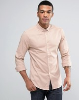 Asos Skinny Twill Shirt In Pink