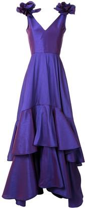 Bambah Perennial flower ruffle gown