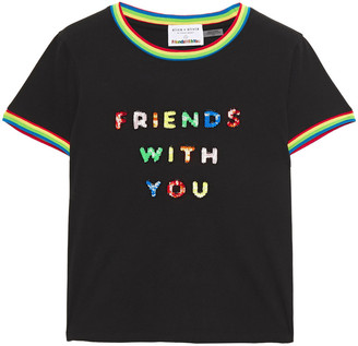 Alice + Olivia Bead And Sequin-embellished Cotton-jersey T-shirt