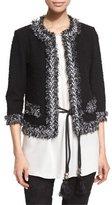 St. John Fringe-Trim Boucle Knit Jacket, Caviar/Frost