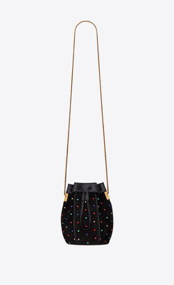Saint Laurent Bucket Bag Talitha Small Bucket Bag In Suede And Studs Multicolor Black Onesize
