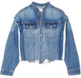 Sjyp Distressed Paneled Denim Jacket - Mid denim