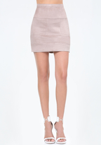 Bebe Seamed Faux Suede Miniskirt