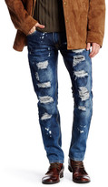 X-Ray Distressed Straight Leg Denim Jean