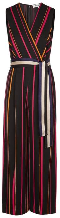 Diane von Furstenberg Striped Wide-leg Twill Jumpsuit