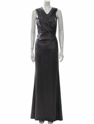Vionnet Silk Long Dress Grey