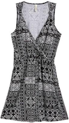 Loveappella Mosaic Printed Knot Shoulder Strap Dress