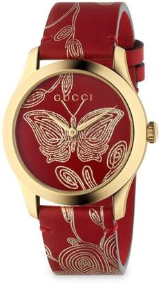 Gucci Metallic Leather Watch