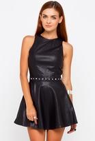 Motel Rocks Deluxe Medusa Faux Leather Skater Dress