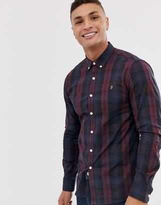 Farah Brewer slim fit tartan shirt in red