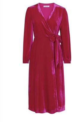 Emily And Fin Luna Wrap Velvet Dress Fuchsia - XS/8 / Fuchsia