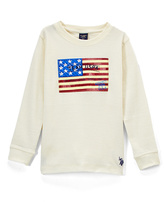 U.S. Polo Assn. Winter White Flag Graphic Long-Sleeve Crewneck Top - Boys