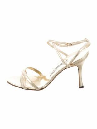 Manolo Blahnik Leather Slingback Sandals Gold