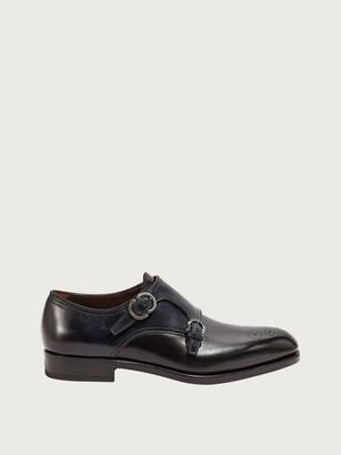 Salvatore Ferragamo Men Double monk strap shoe Black Size 6.5