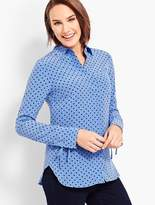 Talbots Washable Silk Camp Shirt-Dot-Print