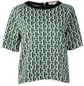 MICHAEL Michael Kors Women's Printed Woven Top (M, Palmetto Green)