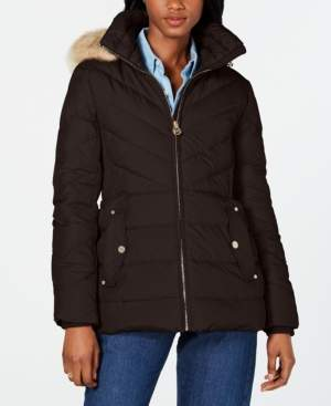 Michael Kors Michael Hooded Faux-Fur-Trim Down Puffer Coat, Created for Macy's