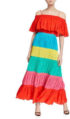 Alice + Olivia Kia Long Smocked Cold-Shoulder Dress