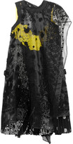Sacai Embroidered Organza And Lace-paneled Printed Voile Dress - Black
