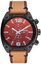Diesel Overflow Men's Brown Leather Strap Watch