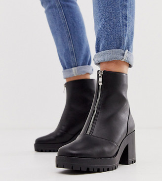 Raid Wide Fit Exclusive Janella black chunky square toe boots
