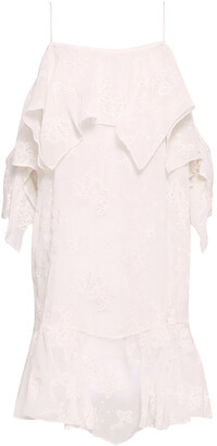 IRO Sabel Cold-shoulder Broderie Anglaise Chiffon Mini Dress