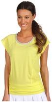 Nike Dri-Fit Cotton Knit S/S Top (Electric Yellow/Grey Heather/Matte Silver) - Apparel