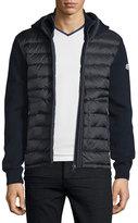 Moncler Puffer-Panel Front-Zip Sweater, Navy