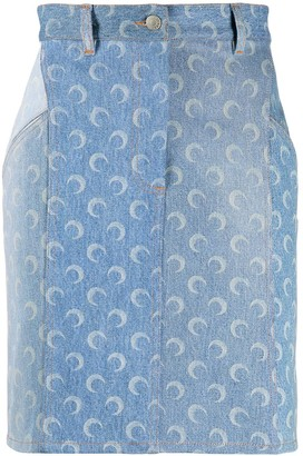 Marine Serre Moon Print Denim Skirt