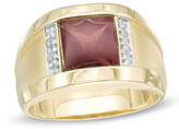 Zales Men's 8.0mm Square Garnet and Diamond Accent Ring in 10K Gold