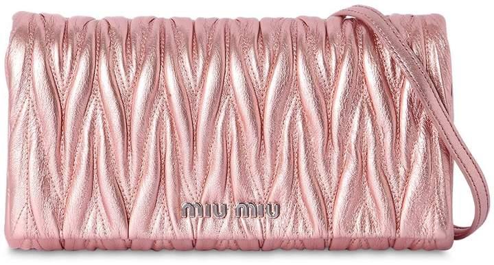 Miu Miu Quilted Metallic Leather Shoulder Bag