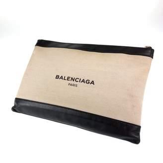 Balenciaga Navy cabas White Cotton Clutch bags