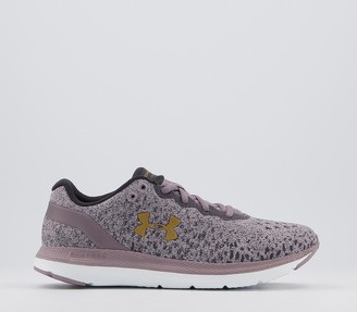 Under Armour Charged Impulse Knit Trainers Slate Purple White Metallic Gold Luster F