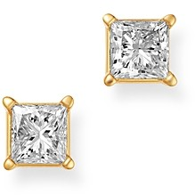 Bloomingdale's Diamond Princess-Cut Solitaire Stud Earrings in 14K Yellow Gold, 1.0 ct. t.w. - 100% Exclusive