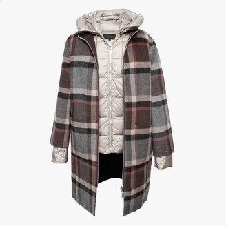 Oakwood Liliana Brown Checked Wool & Nylon Padded Longline Coat