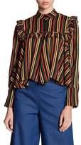 Gracia Stripe Ruffle Blouse