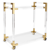 """Jonathan Adler Lucite & Brass Bar Cart """"Jacques"""""""
