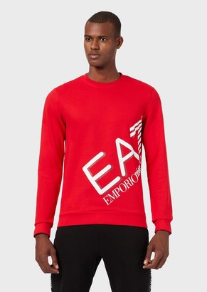 Ea7 Round-Neck Sweatshirt With Maxi Logo