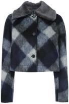 Jil Sander Navy faux fur collar check jacket - women - Acrylic/Polyester/Acetate/Virgin Wool - 36