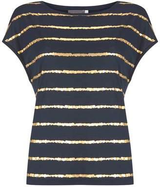 Mint Velvet Navy Foiled Striped T-Shirt