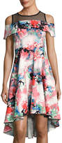 Neiman Marcus Cold-Shoulder Floral-Print Dress, Multi