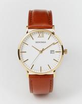 Sekonda Gold Detail Brown Leather Strap Watch Exclusive to ASOS 1112