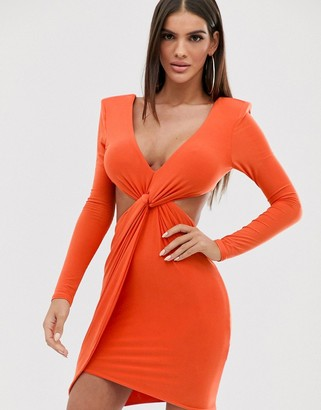 Club L London plunge front knot mini dress in orange