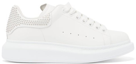 Alexander McQueen Raised-sole Studded Leather Trainers - Womens - White Silver