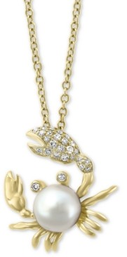 """Effy Cultured Freshwater Pearl (6mm) & Diamond (1/10 ct. t.w.) Crab 18"""" Pendant Necklace in 14k Gold"""