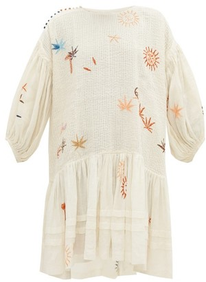 Story mfg. Verity Embroidered Organic Linen And Cotton Dress - White Multi